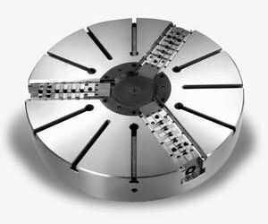 Large Closed Center Adjustable Jaw Power Chucks for Vertical and Horizontal Lathes
